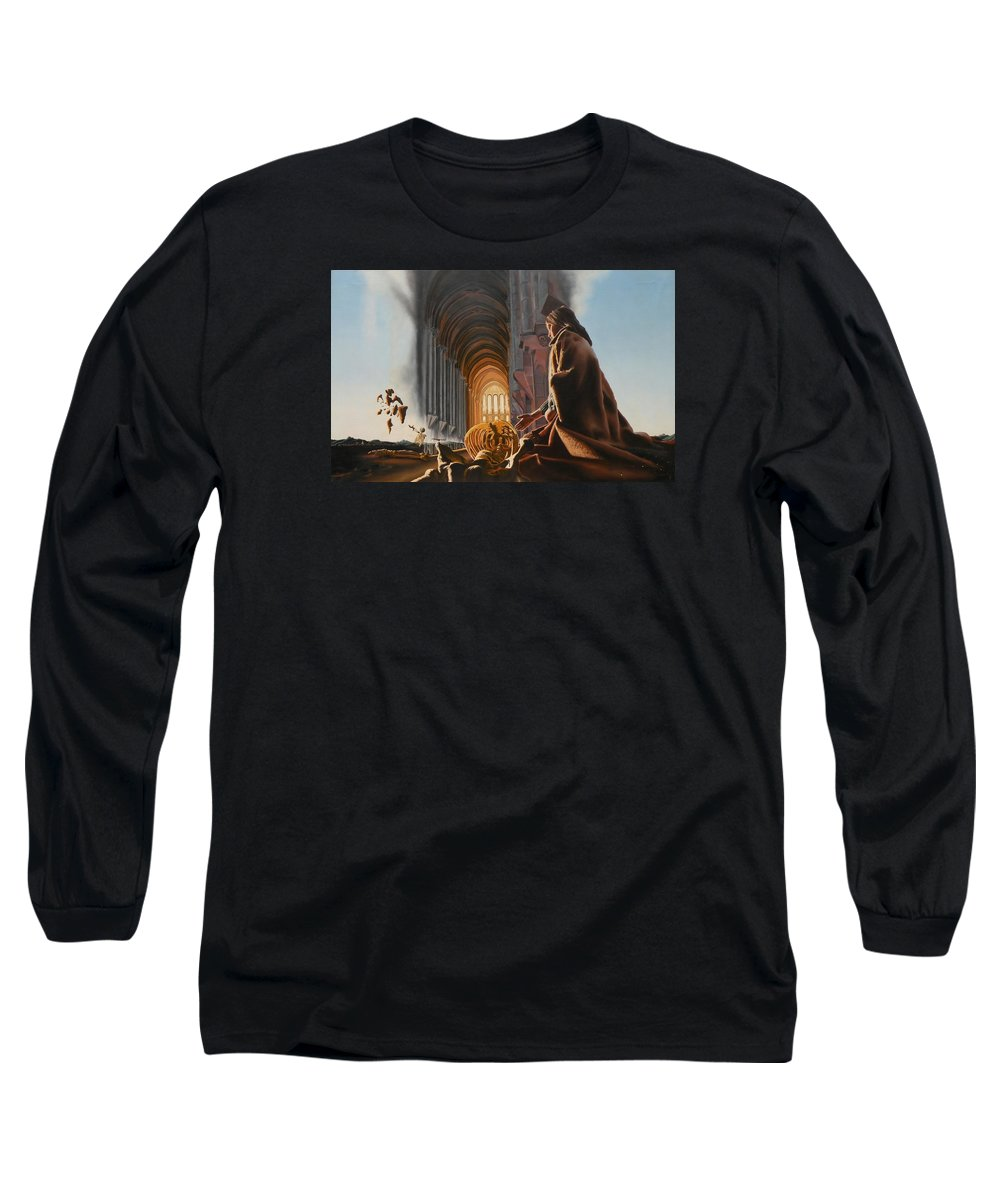 Surreal Long Sleeve T-Shirt featuring the painting Surreal Cathedral by Dave Martsolf
