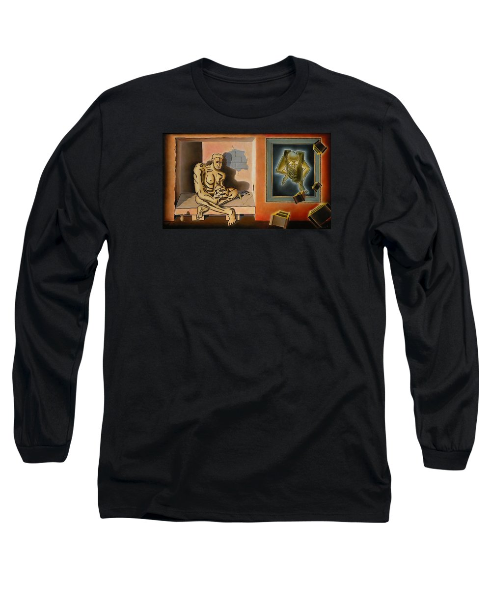 Surreal Long Sleeve T-Shirt featuring the painting Surreal Portents Of Genius by Dave Martsolf