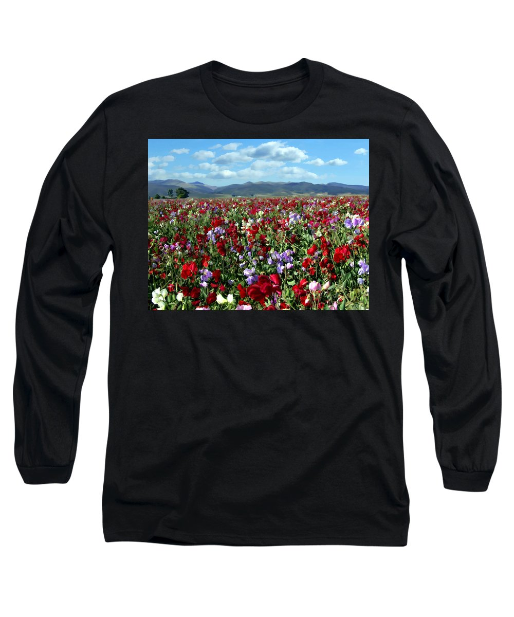 Flowers Long Sleeve T-Shirt featuring the photograph Sweet Peas Forever by Kurt Van Wagner