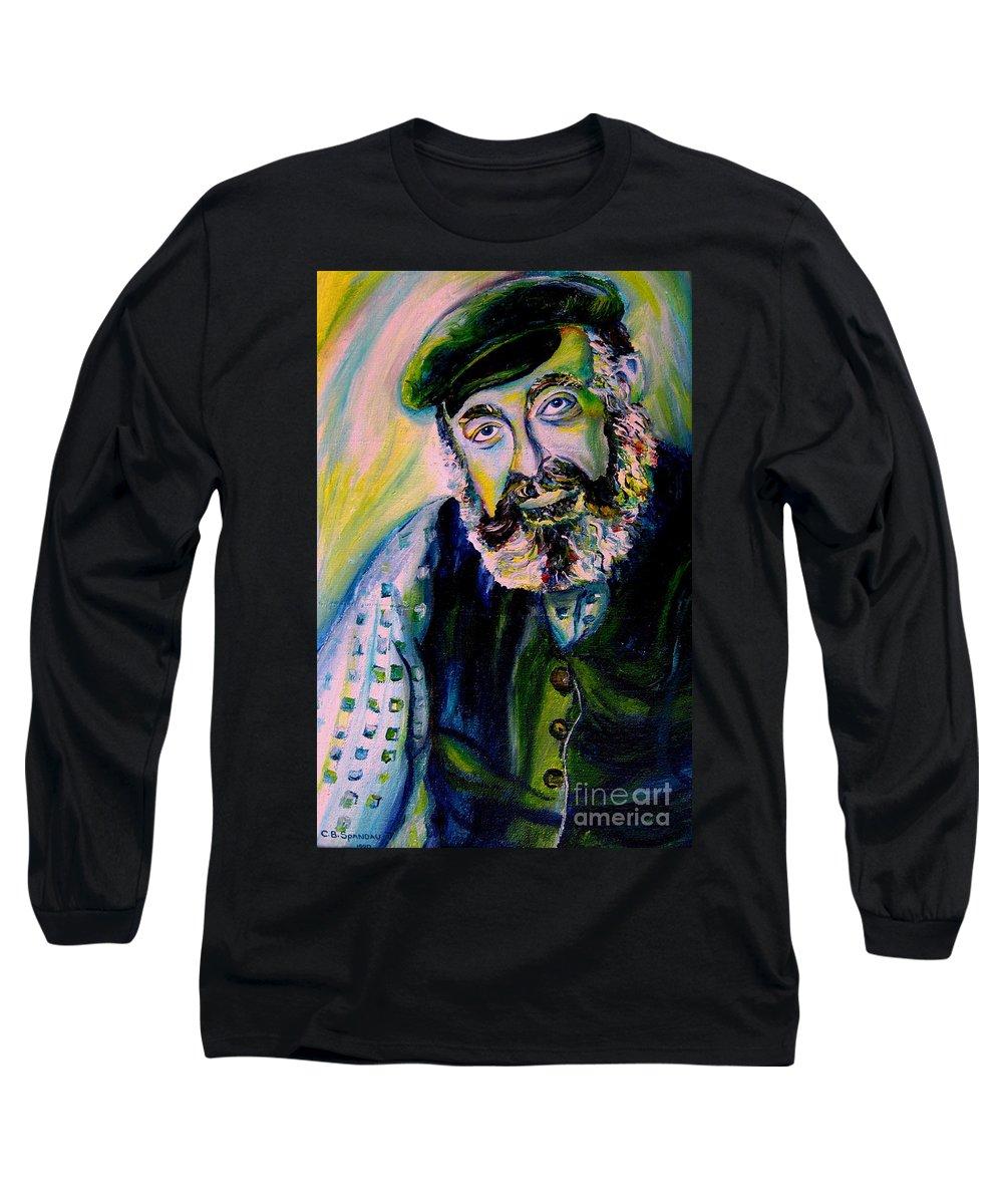Tevye Fiddler On The Roof Long Sleeve T-Shirt featuring the painting Tevye Fiddler On The Roof by Carole Spandau