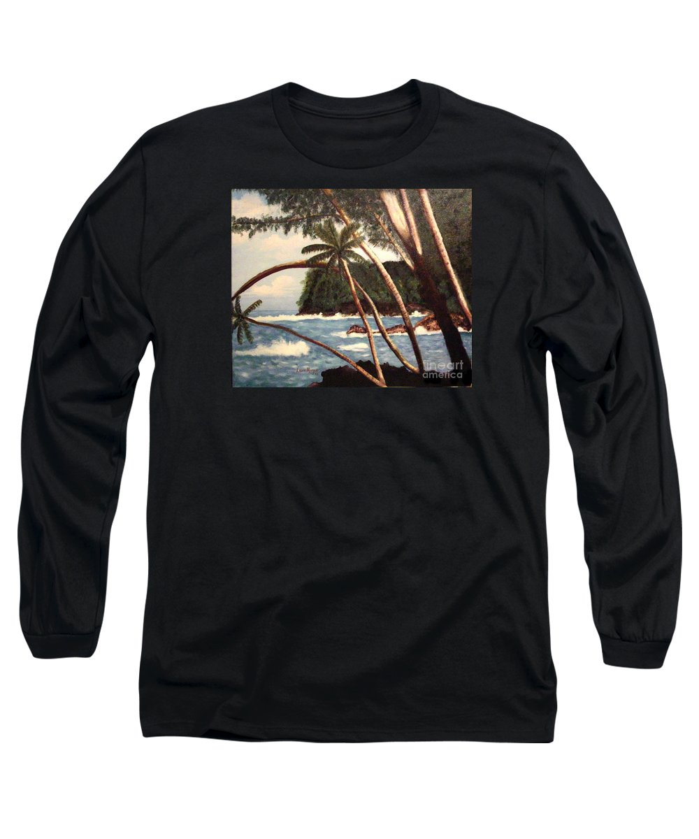 Hawaii Long Sleeve T-Shirt featuring the painting The Big Island by Laurie Morgan