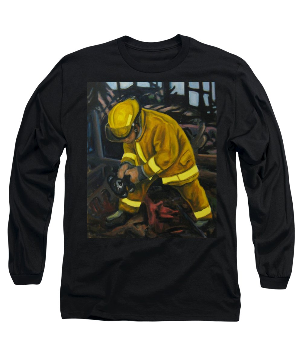 The Compulsion Towards Heroism Long Sleeve T-Shirt featuring the painting The Compulsion Towards Heroism by John Malone