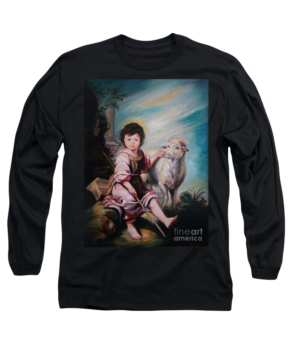 Classic Art Long Sleeve T-Shirt featuring the painting The Good Shepherd by Silvana Abel
