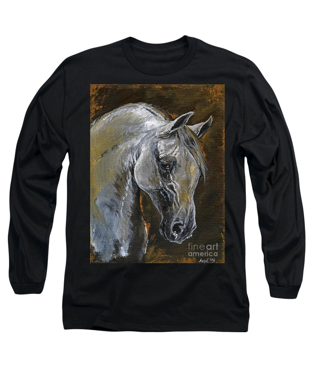 Grey Horse Long Sleeve T-Shirt featuring the painting The Grey Arabian Horse Oil Painting by Angel Ciesniarska