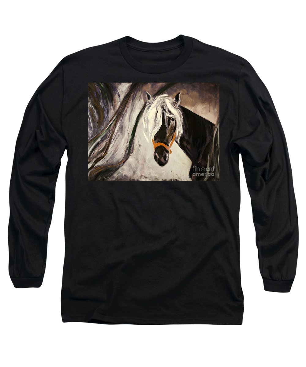 Horses Long Sleeve T-Shirt featuring the painting The Performer by Gina De Gorna