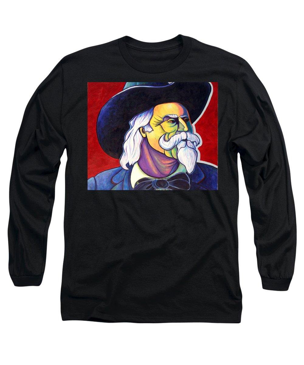 Western Hero Long Sleeve T-Shirt featuring the painting The Plainsmen - Buffalo Bill Cody by Joe Triano