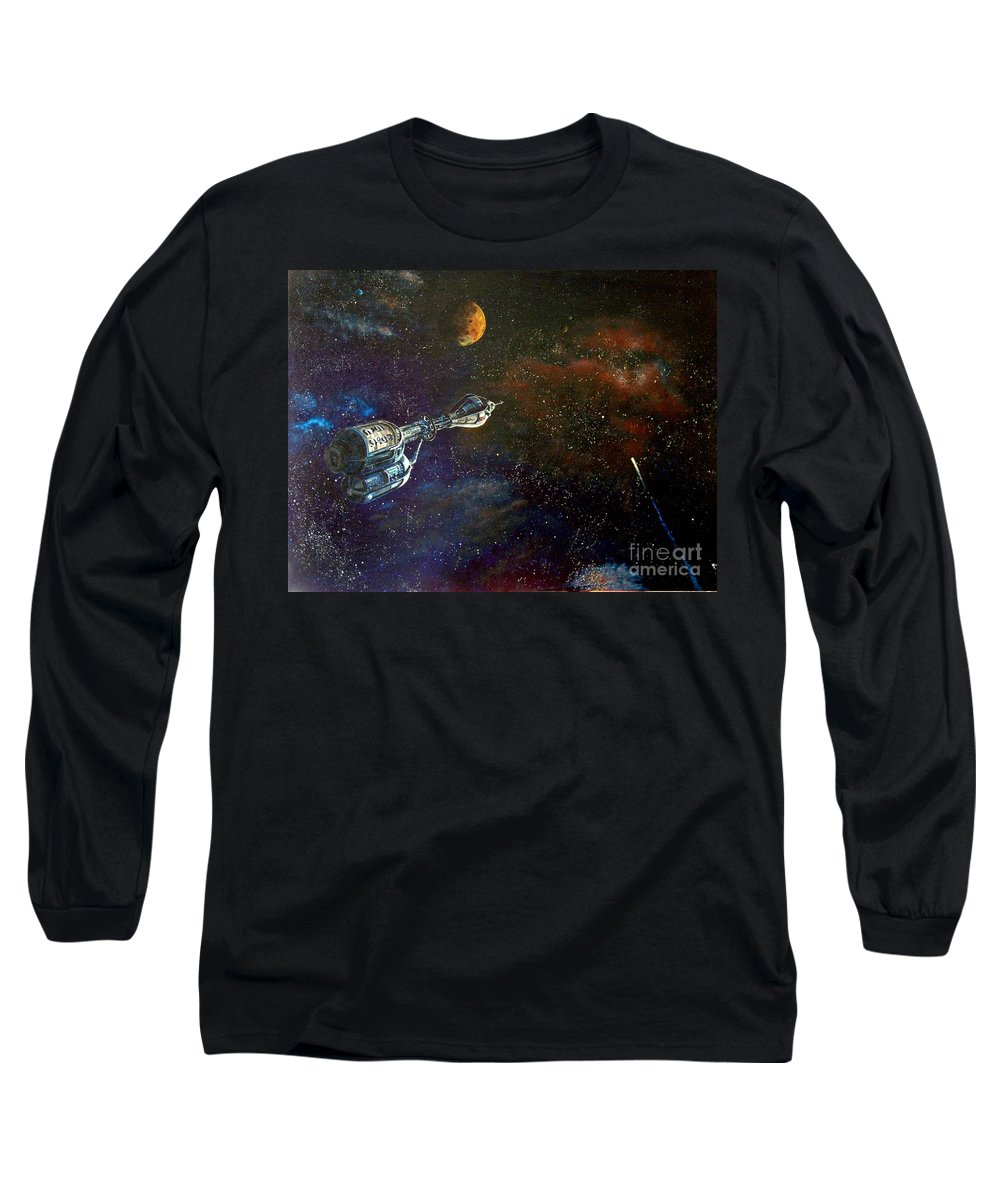 Vista Horizon Long Sleeve T-Shirt featuring the painting The Search For Earth by Murphy Elliott