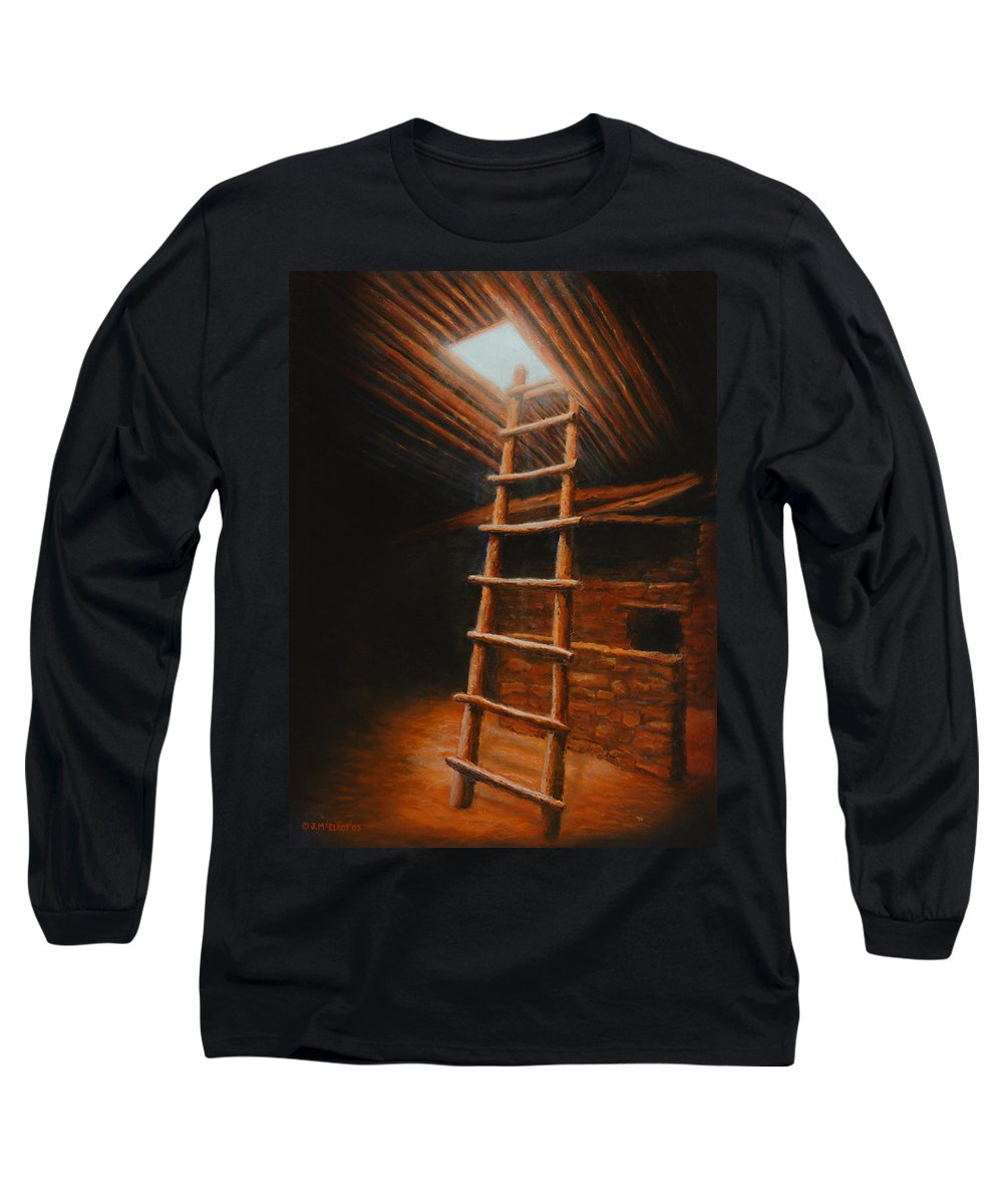 Kiva Long Sleeve T-Shirt featuring the painting The Second World by Jerry McElroy