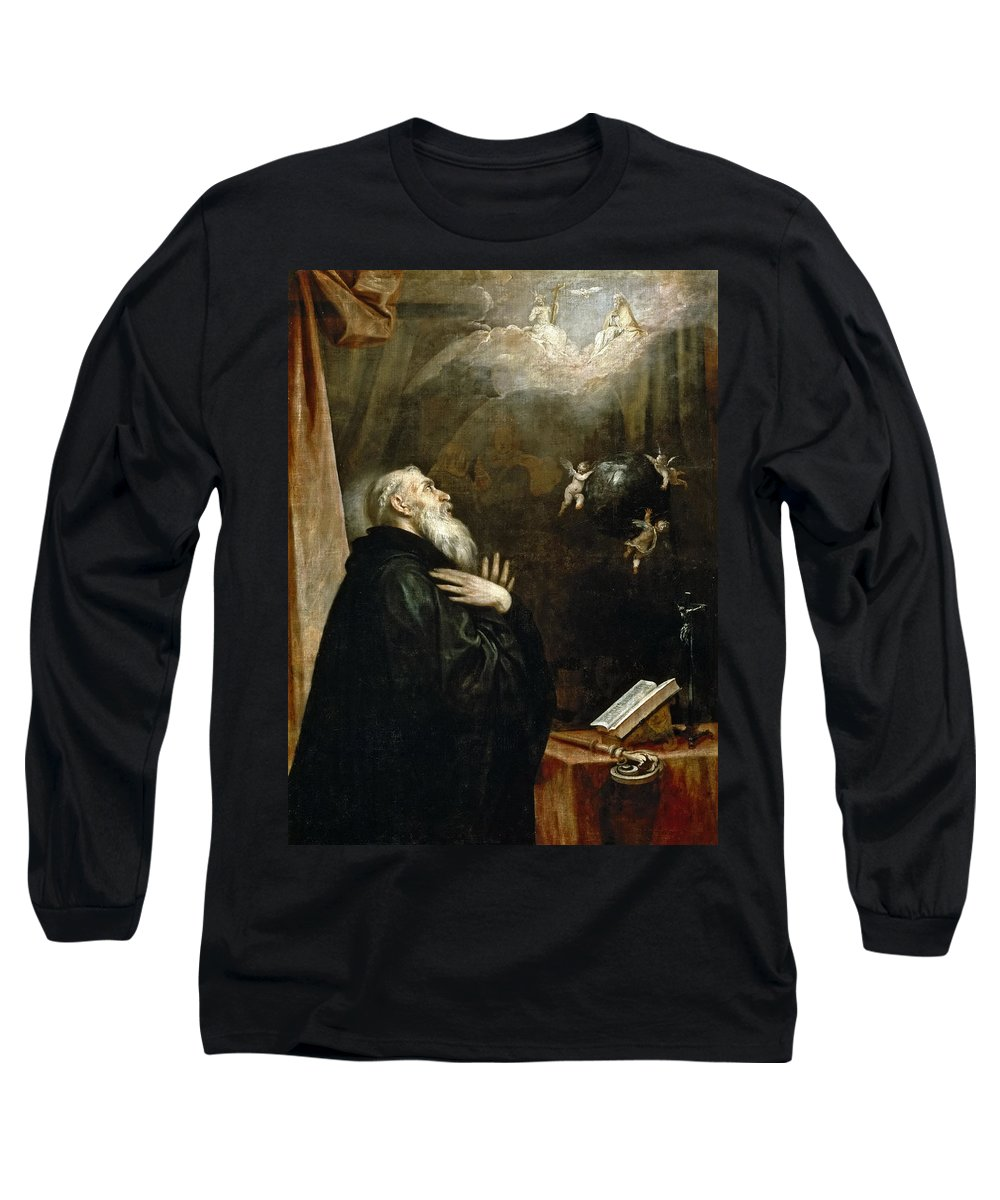 Alonso Cano Long Sleeve T-Shirt featuring the painting The Vision Of St. Benedict Of The World And The Three Angels by Alonso Cano