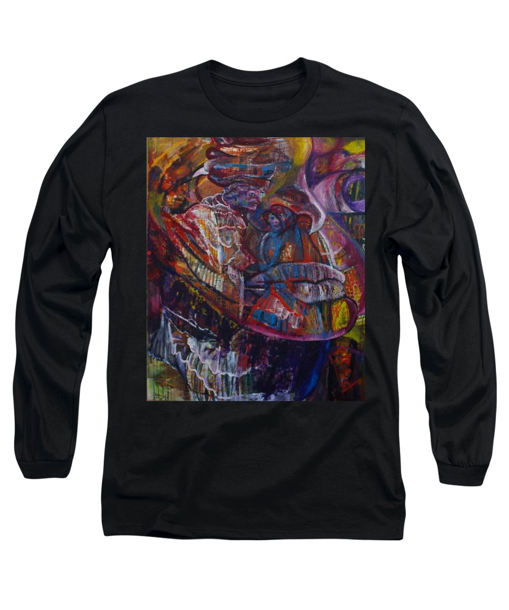 African Women Long Sleeve T-Shirt featuring the painting Tikor Woman by Peggy Blood