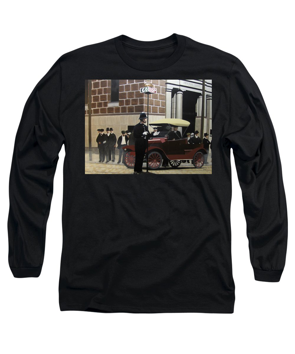 Streetscapes Long Sleeve T-Shirt featuring the painting Toronto Traffic Cop 1912 by Kenneth M Kirsch