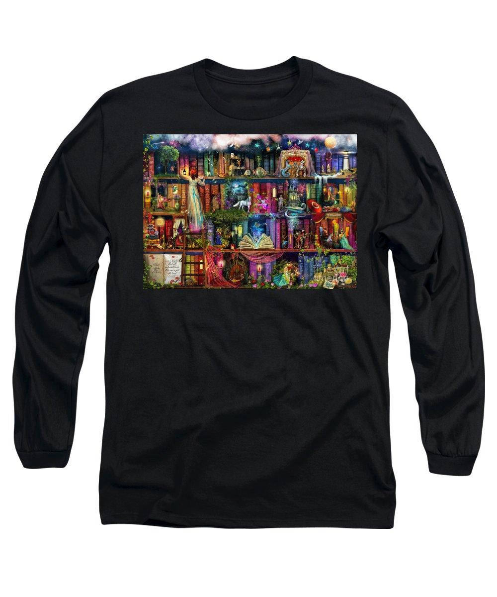 Fairytale Long Sleeve T-Shirt featuring the digital art Fairytale Treasure Hunt Book Shelf by MGL Meiklejohn Graphics Licensing