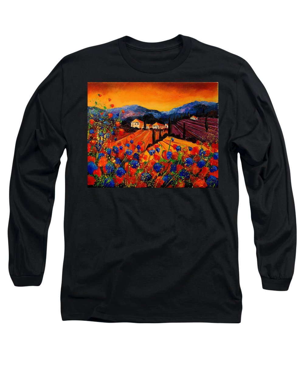 Poppies Long Sleeve T-Shirt featuring the painting Tuscany Poppies by Pol Ledent