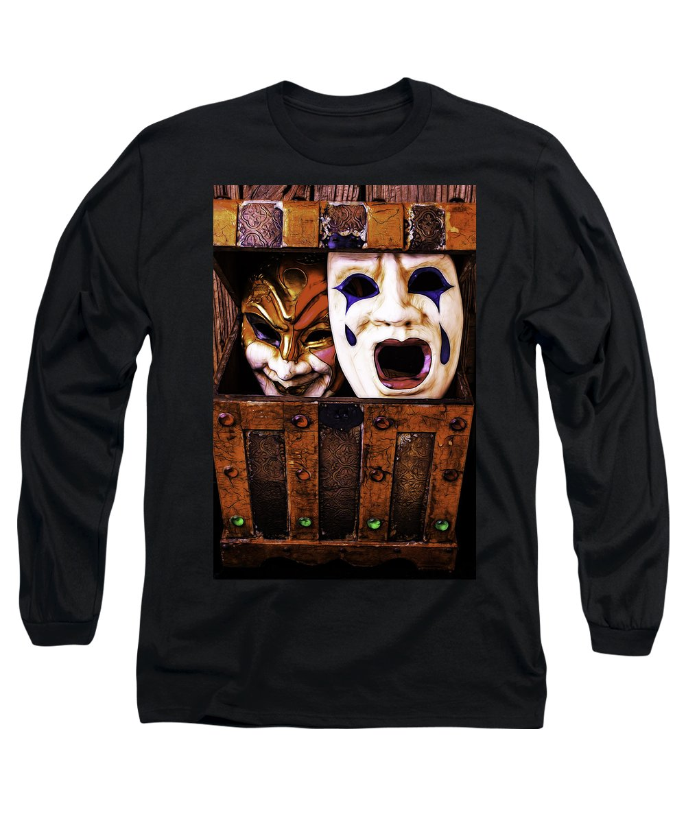 Mask Long Sleeve T-Shirt featuring the photograph Two Masks In Box by Garry Gay