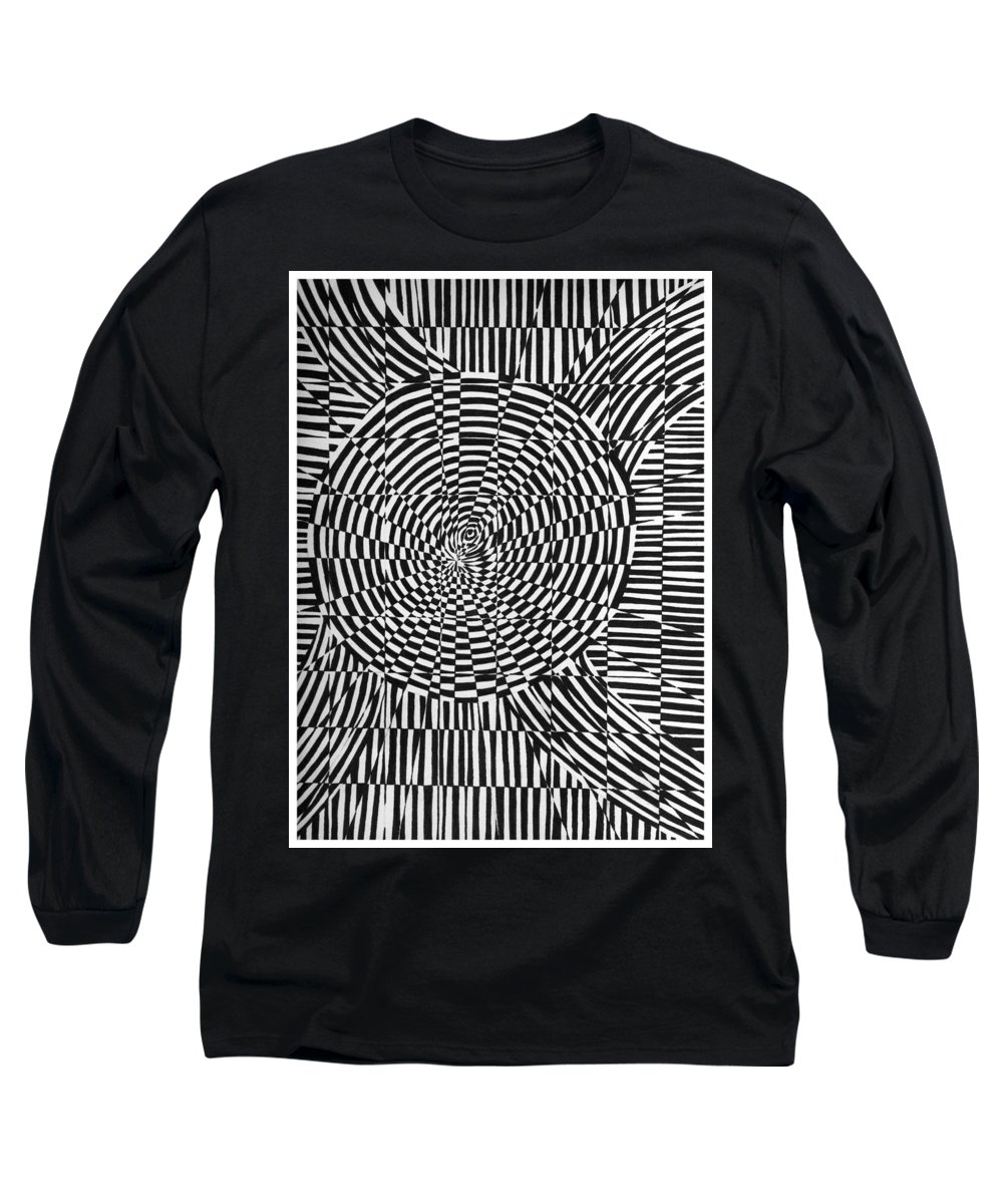 Abstract Long Sleeve T-Shirt featuring the drawing Unraveled by Crystal Hubbard