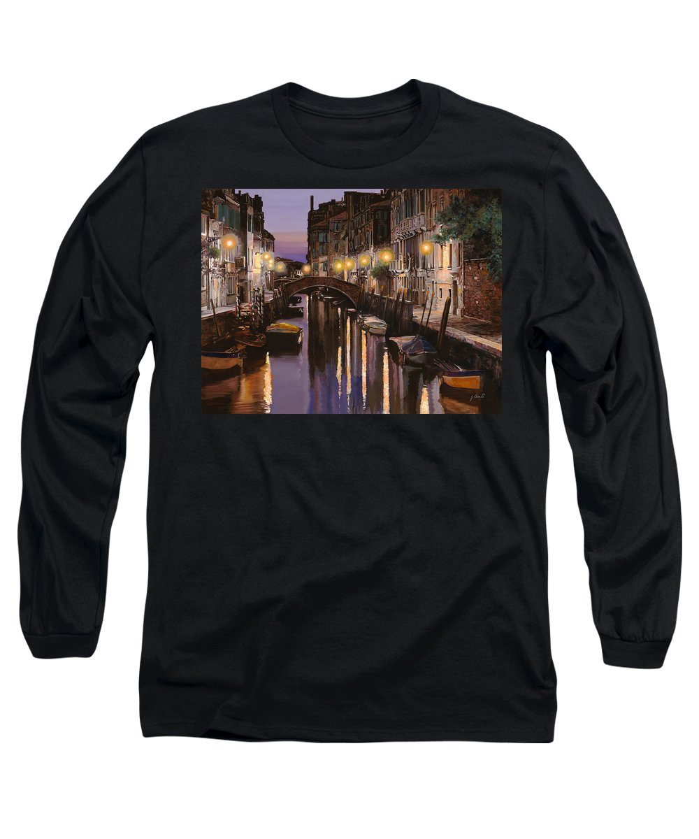 Venice Long Sleeve T-Shirt featuring the painting Venezia Al Crepuscolo by Guido Borelli