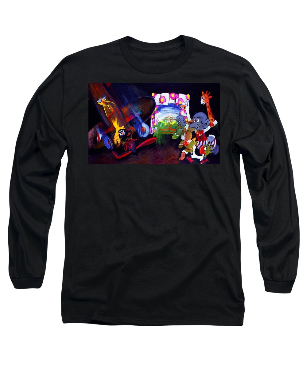 Cartoon Long Sleeve T-Shirt featuring the painting Watch With Mother by Charles Stuart