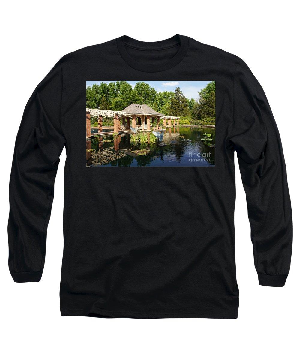 Botanical Garden Long Sleeve T-Shirt featuring the photograph Water Garden Serenity by Megan Cohen