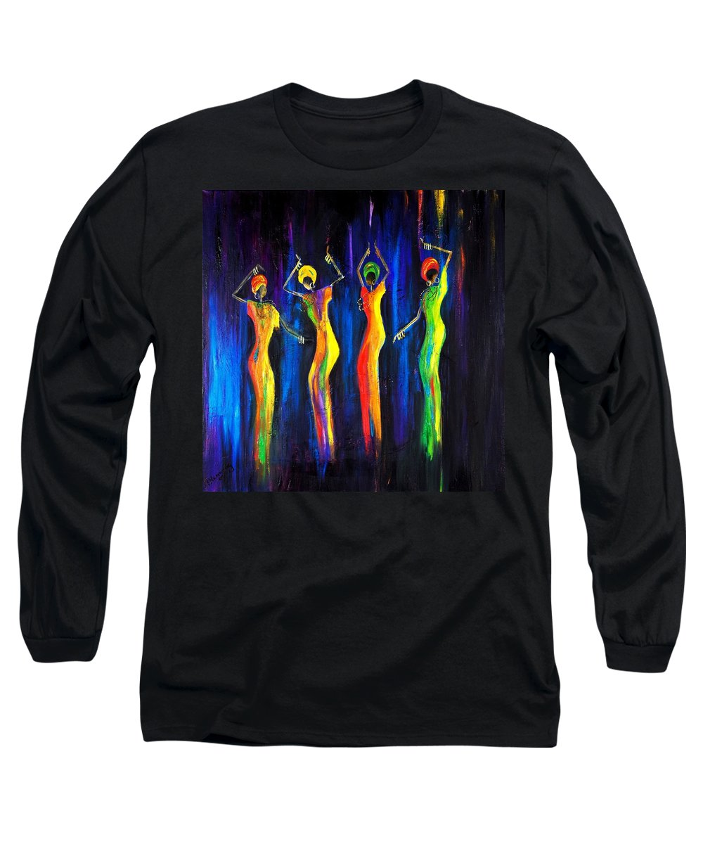 Women Paintings Long Sleeve T-Shirt featuring the painting Womens Day Celebration In South Africa by Marietjie Henning