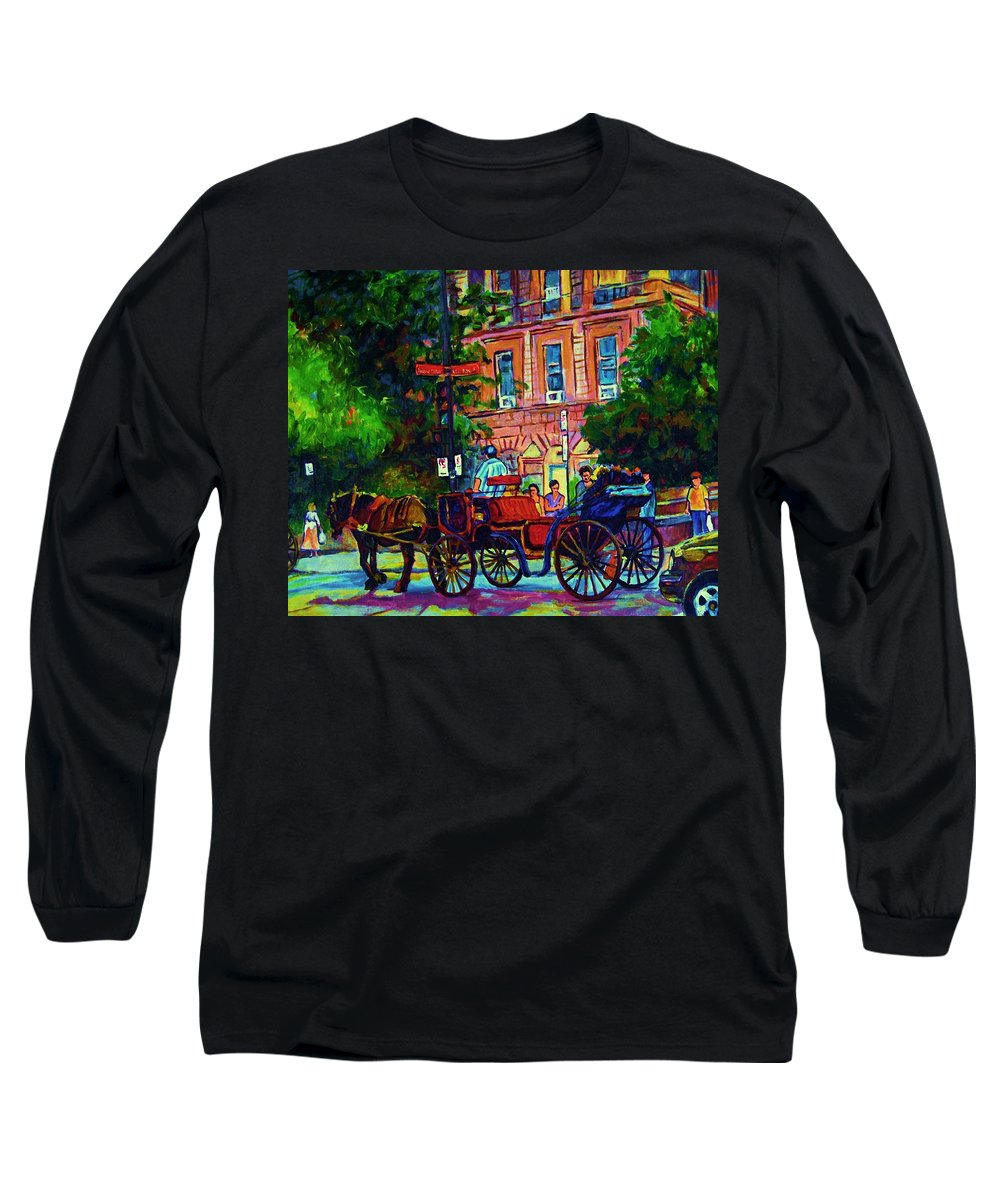 Rue Notre Dame Long Sleeve T-Shirt featuring the painting Horsedrawn Carriage by Carole Spandau