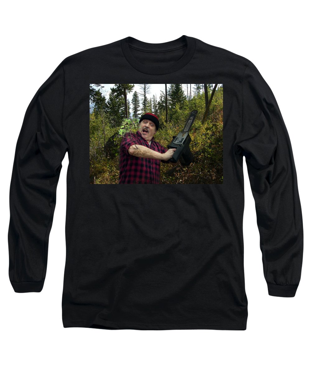 Surrealism Fantastic+realism Cloning Parasites Lumberjack Chainsaw Selfportrait Long Sleeve T-Shirt featuring the digital art I Am A Lumberjack I Am Ok by Otto Rapp