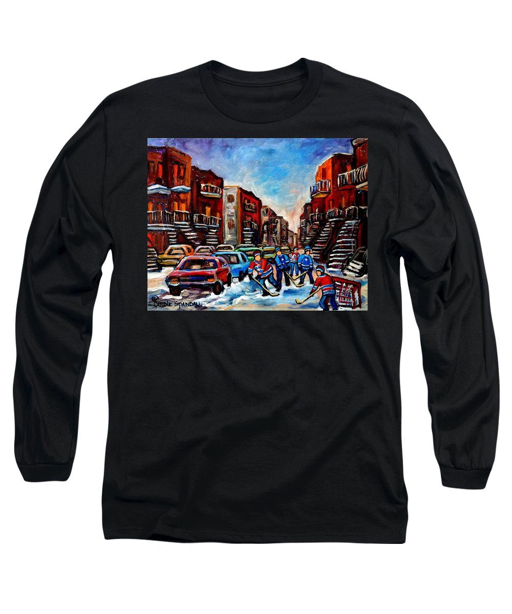 Montreal Long Sleeve T-Shirt featuring the painting Late Afternoon Street Hockey by Carole Spandau
