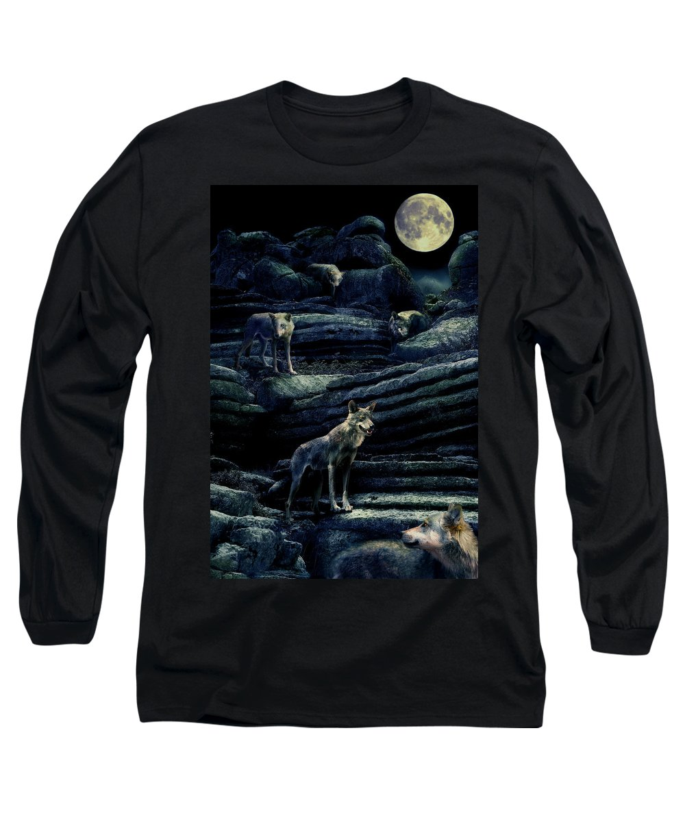 Wolf Long Sleeve T-Shirt featuring the photograph Moonlit Wolf Pack by Mal Bray