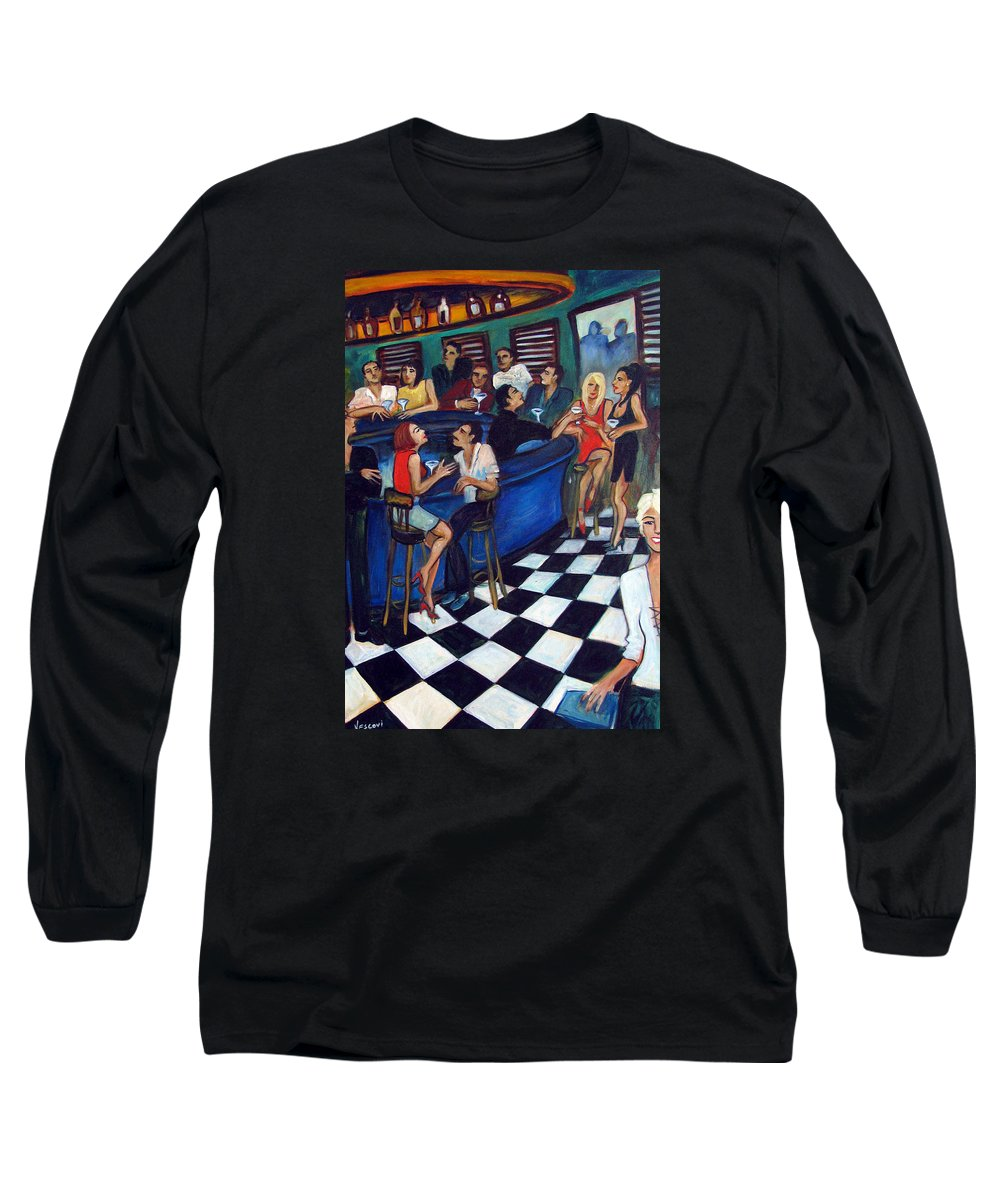 Chicago Style Bar Long Sleeve T-Shirt featuring the painting 32 East by Valerie Vescovi