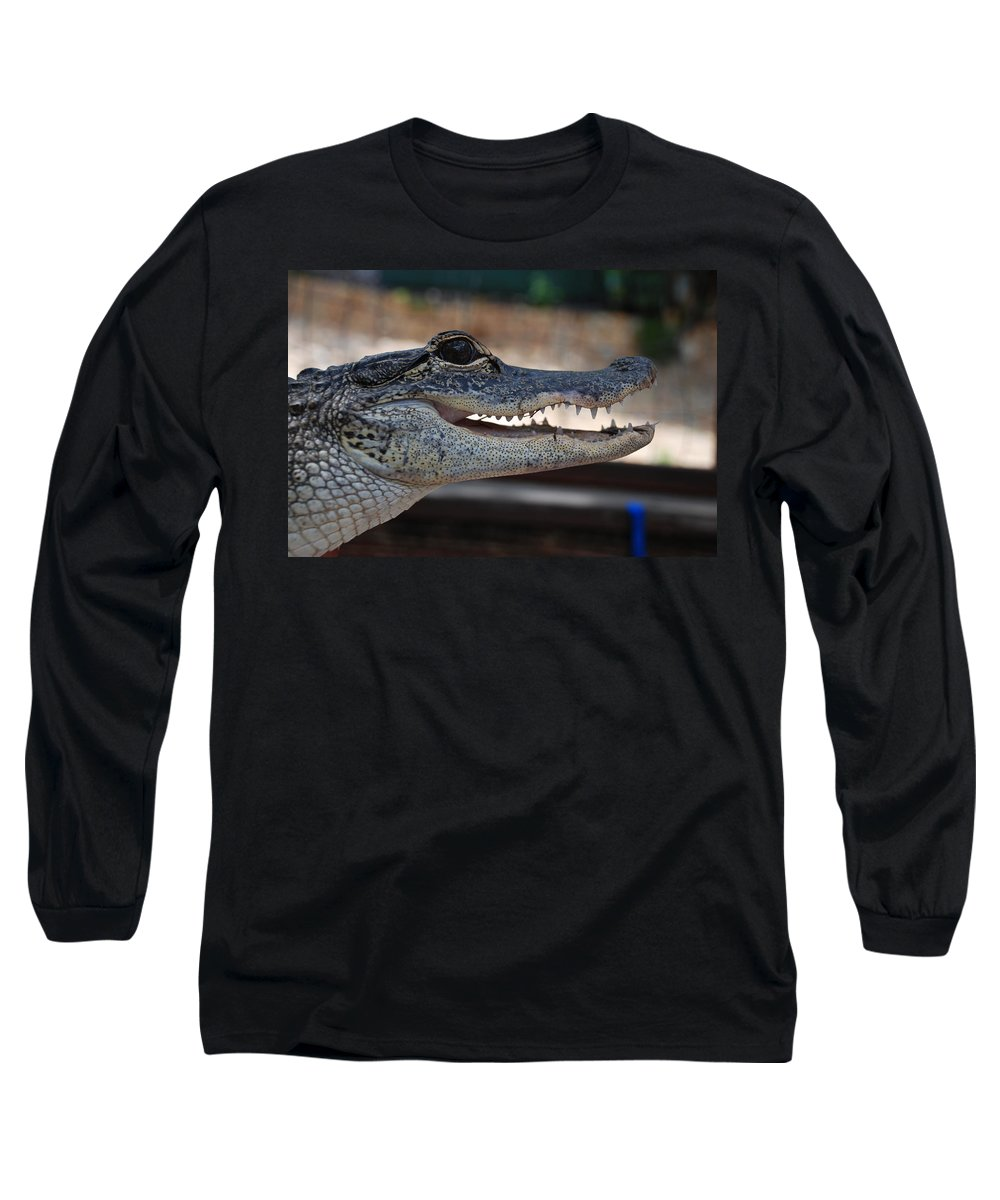 Macro Long Sleeve T-Shirt featuring the photograph Baby Gator by Rob Hans