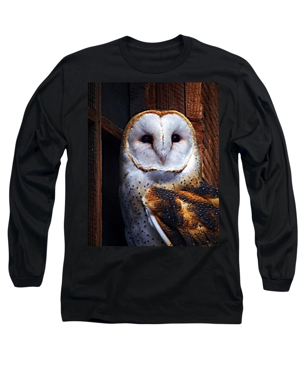 Digital Painting Long Sleeve T-Shirt featuring the photograph Barn Owl by Anthony Jones