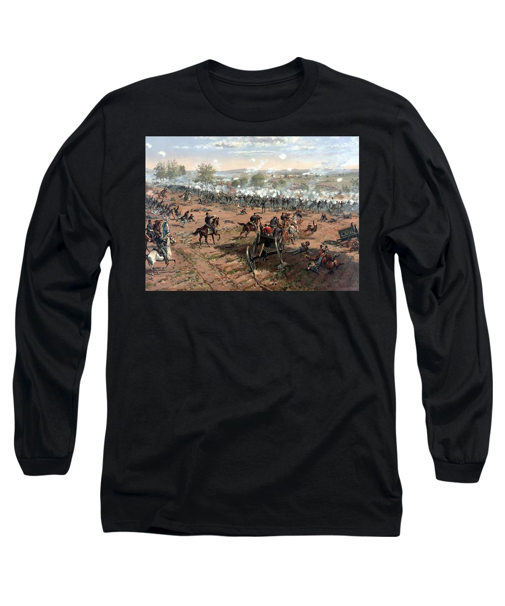 Civil War Long Sleeve T-Shirt featuring the painting Battle Of Gettysburg by War Is Hell Store