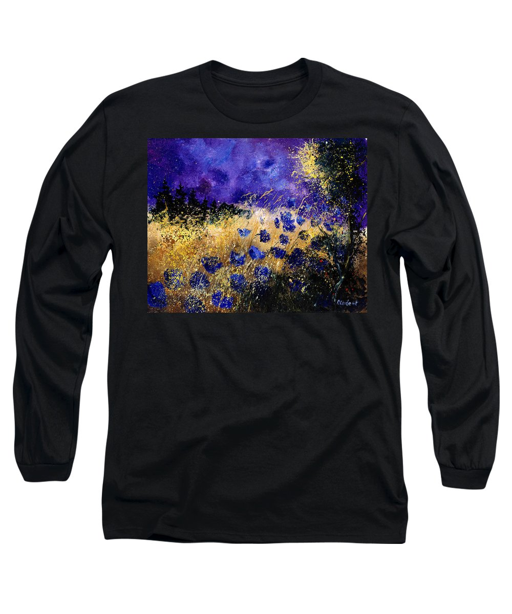Poppies Long Sleeve T-Shirt featuring the painting Blue Cornflowers by Pol Ledent