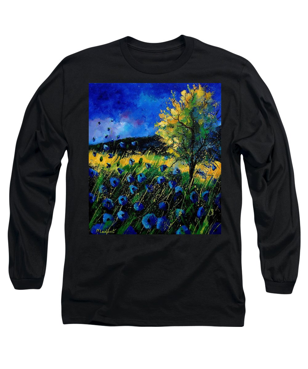 Poppies Long Sleeve T-Shirt featuring the painting Blue Poppies by Pol Ledent