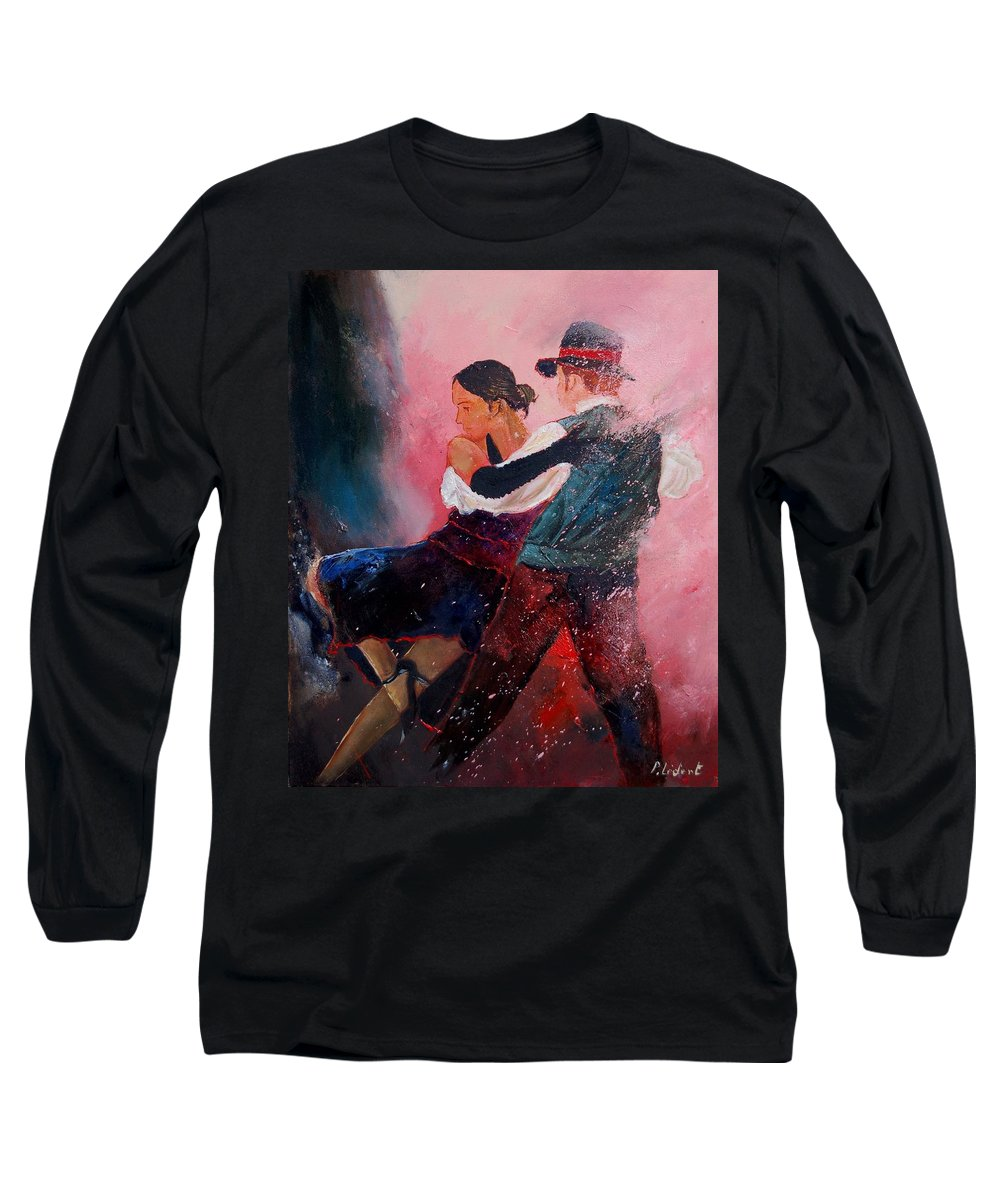 Music Long Sleeve T-Shirt featuring the painting Dancing Tango by Pol Ledent