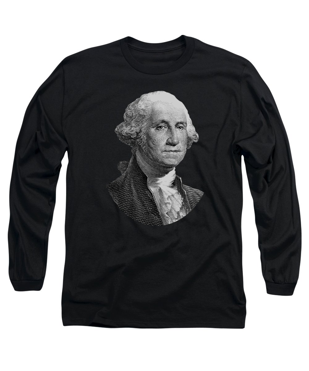 George Washington Long Sleeve T-Shirt featuring the digital art George Washington Graphic Four by War Is Hell Store