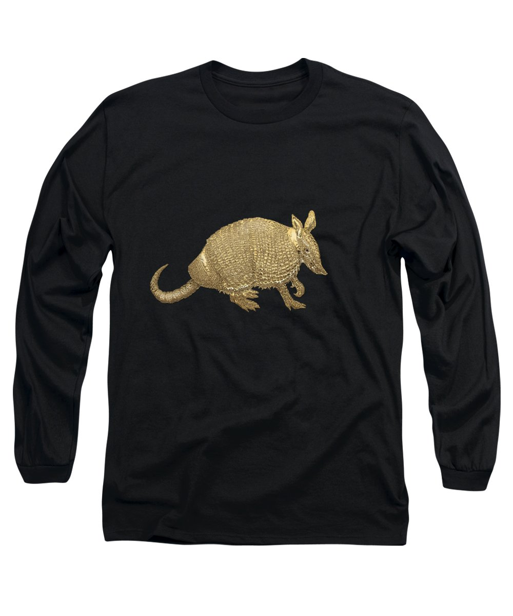 'beasts Creatures And Critters' Collection By Serge Averbukh Long Sleeve T-Shirt featuring the photograph Gold Armadillo On Black Canvas by Serge Averbukh
