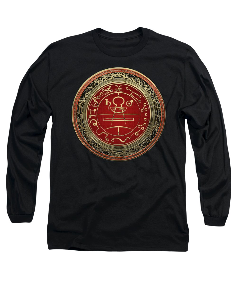 'sacred Symbols' Collection By Serge Averbukh Long Sleeve T-Shirt featuring the photograph Gold Seal Of Solomon - Lesser Key Of Solomon On Black Velvet by Serge Averbukh