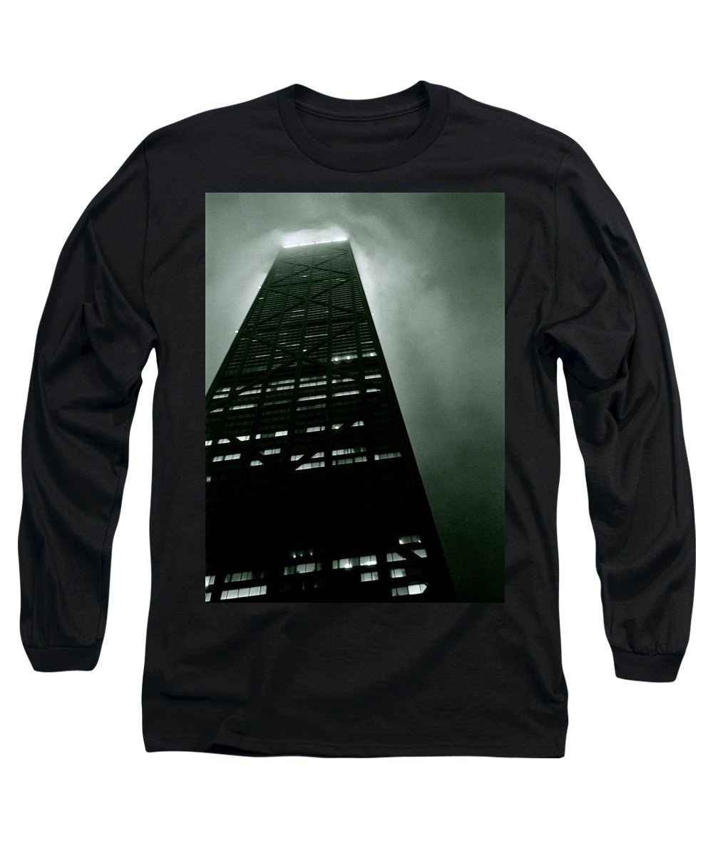 Geometric Long Sleeve T-Shirt featuring the photograph John Hancock Building - Chicago Illinois by Michelle Calkins