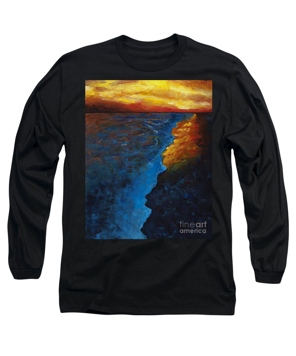 Abstract Ocean Long Sleeve T-Shirt featuring the painting Ocean Sunset by Frances Marino