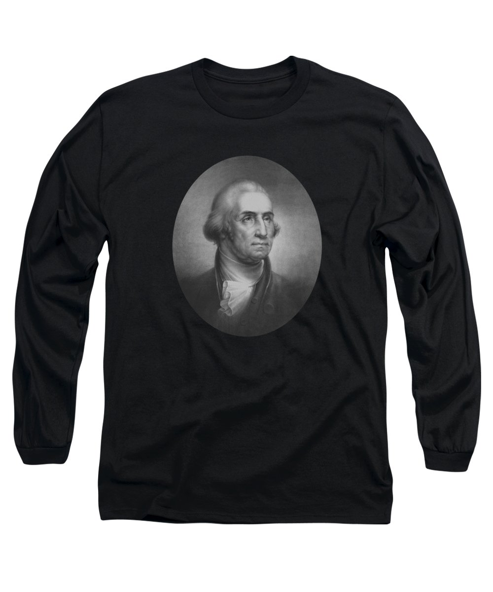 George Washington Long Sleeve T-Shirt featuring the mixed media President George Washington by War Is Hell Store
