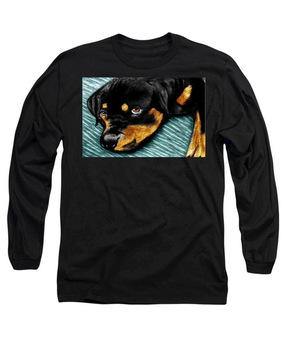 Rot Wilier Long Sleeve T-Shirt featuring the drawing Rotty by Peter Piatt
