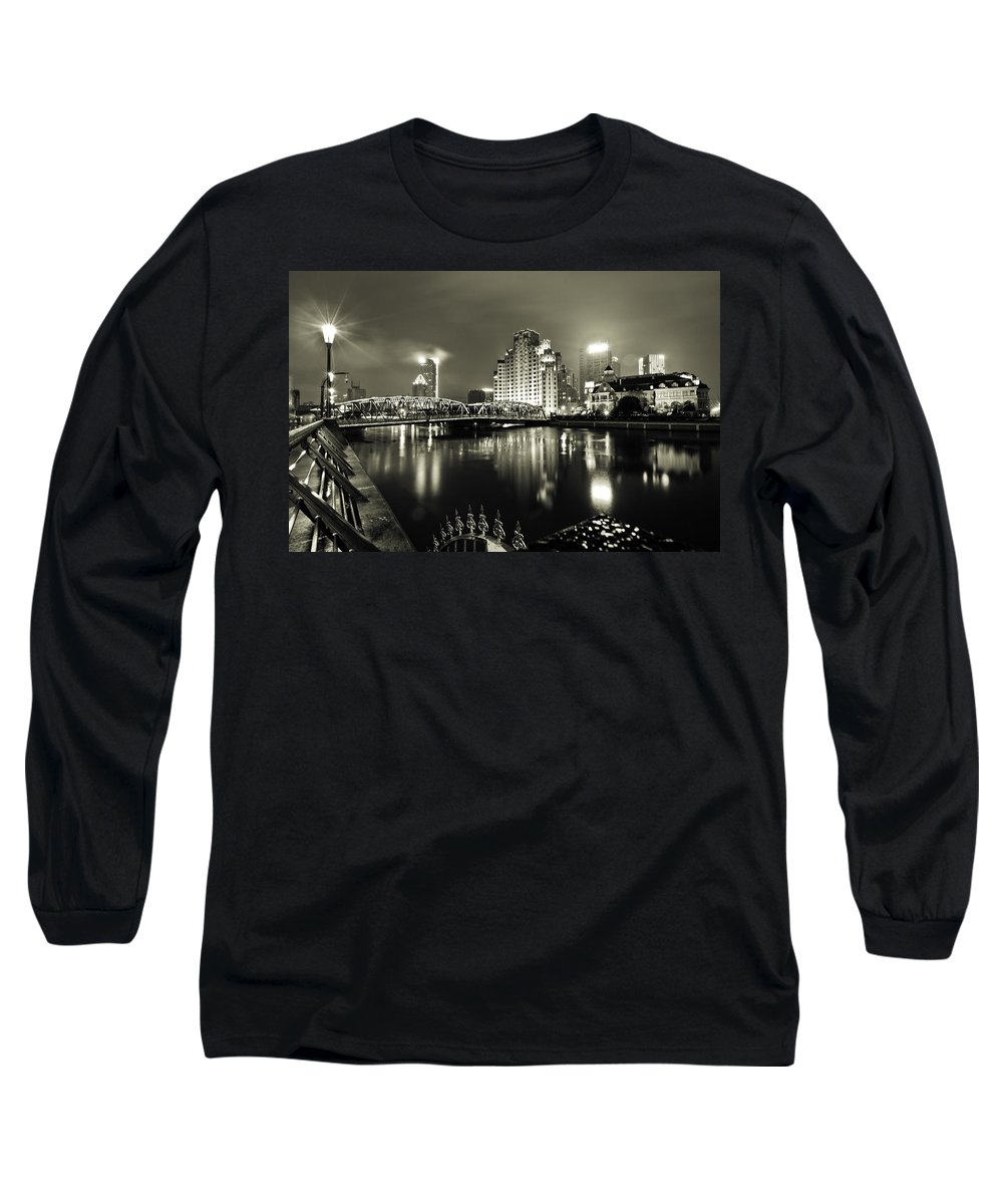 Cityscape Long Sleeve T-Shirt featuring the photograph Shanghai Nights by Chris Cousins
