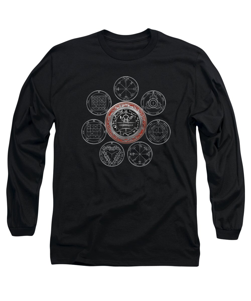 'sacred Symbols' Collection By Serge Averbukh Long Sleeve T-Shirt featuring the photograph Silver Seal Of Solomon Over Seven Pentacles Of Saturn On Black Canvas by Serge Averbukh