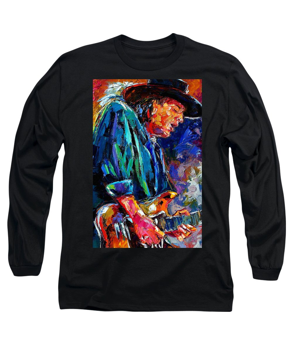 Stevie Ray Vaughan Long Sleeve T-Shirt featuring the painting Stevie Ray Vaughan by Debra Hurd