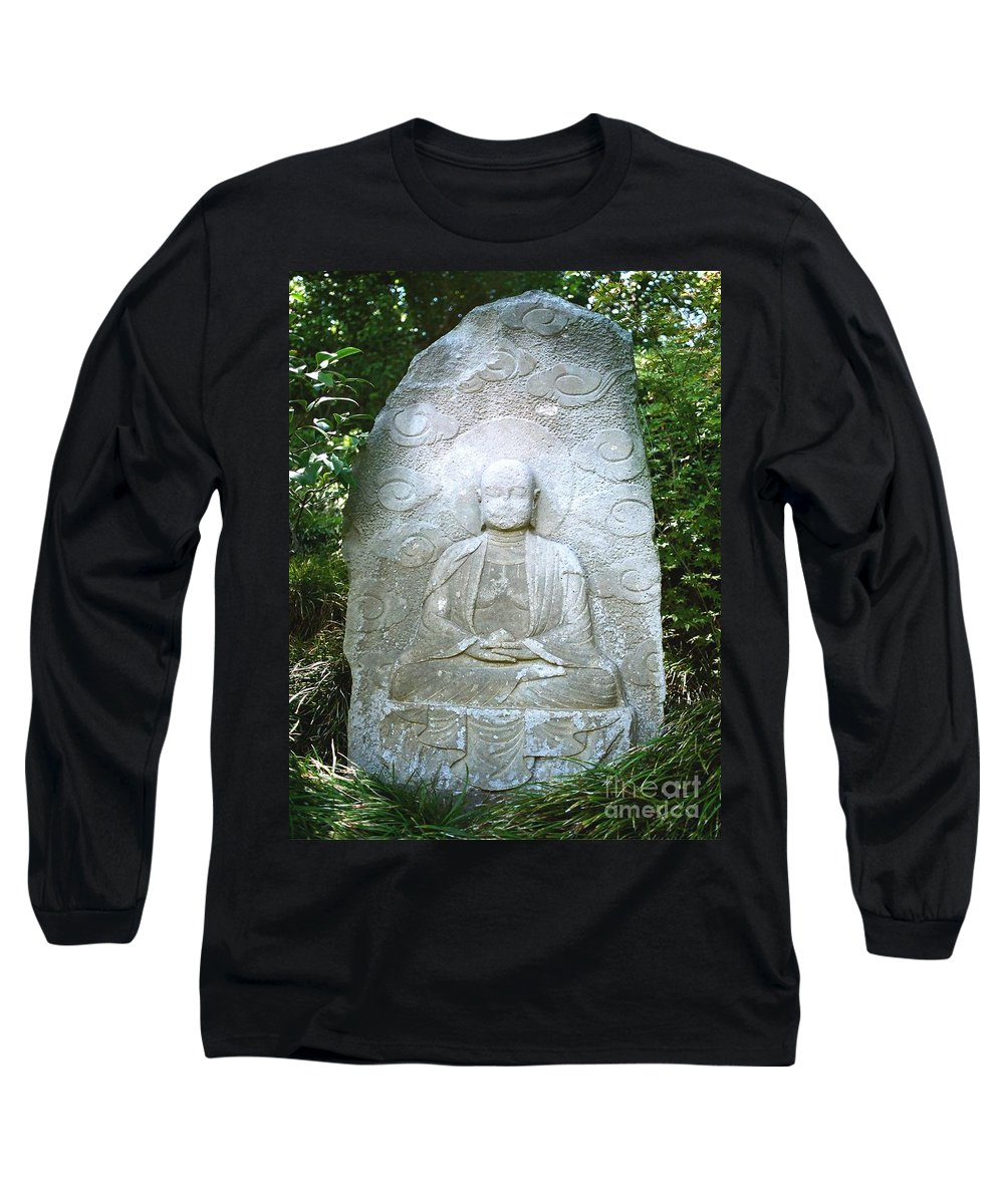 Stone Long Sleeve T-Shirt featuring the photograph Stone Buddha by Dean Triolo