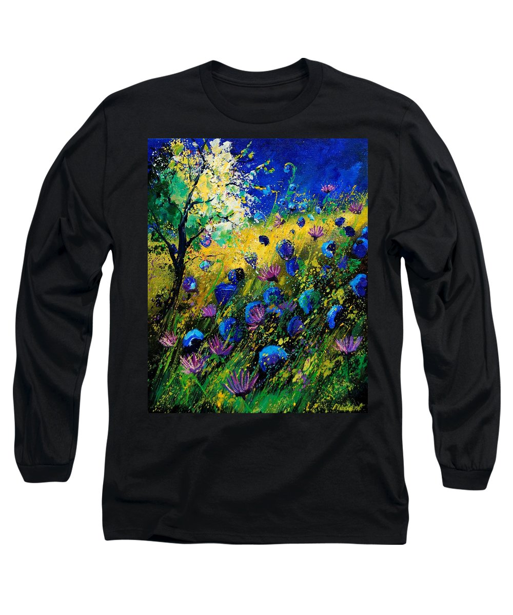 Poppies Long Sleeve T-Shirt featuring the painting Summer 450208 by Pol Ledent