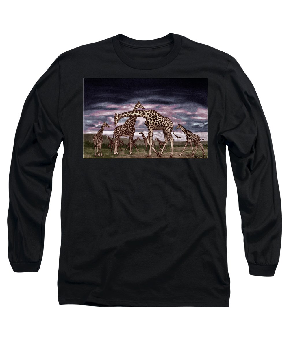 The Herd Long Sleeve T-Shirt featuring the drawing The Herd by Peter Piatt