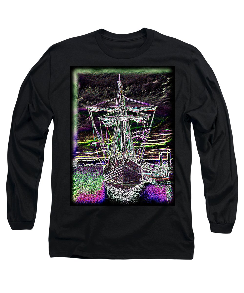 Wooden Boat Long Sleeve T-Shirt featuring the digital art The Nina by Tim Allen