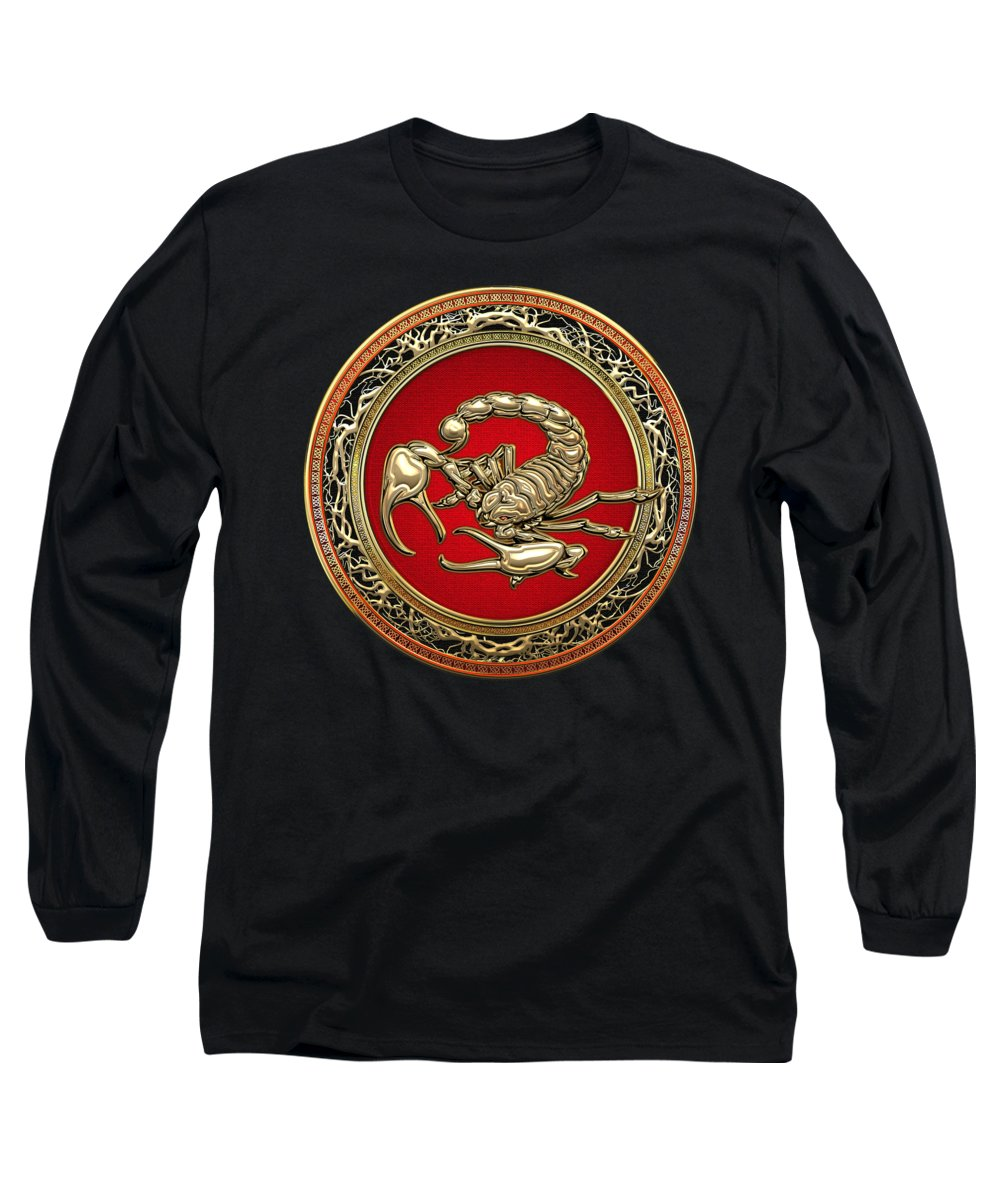 �treasure Trove � By Serge Averbukh Long Sleeve T-Shirt featuring the photograph Treasure Trove - Sacred Golden Scorpion On Black by Serge Averbukh