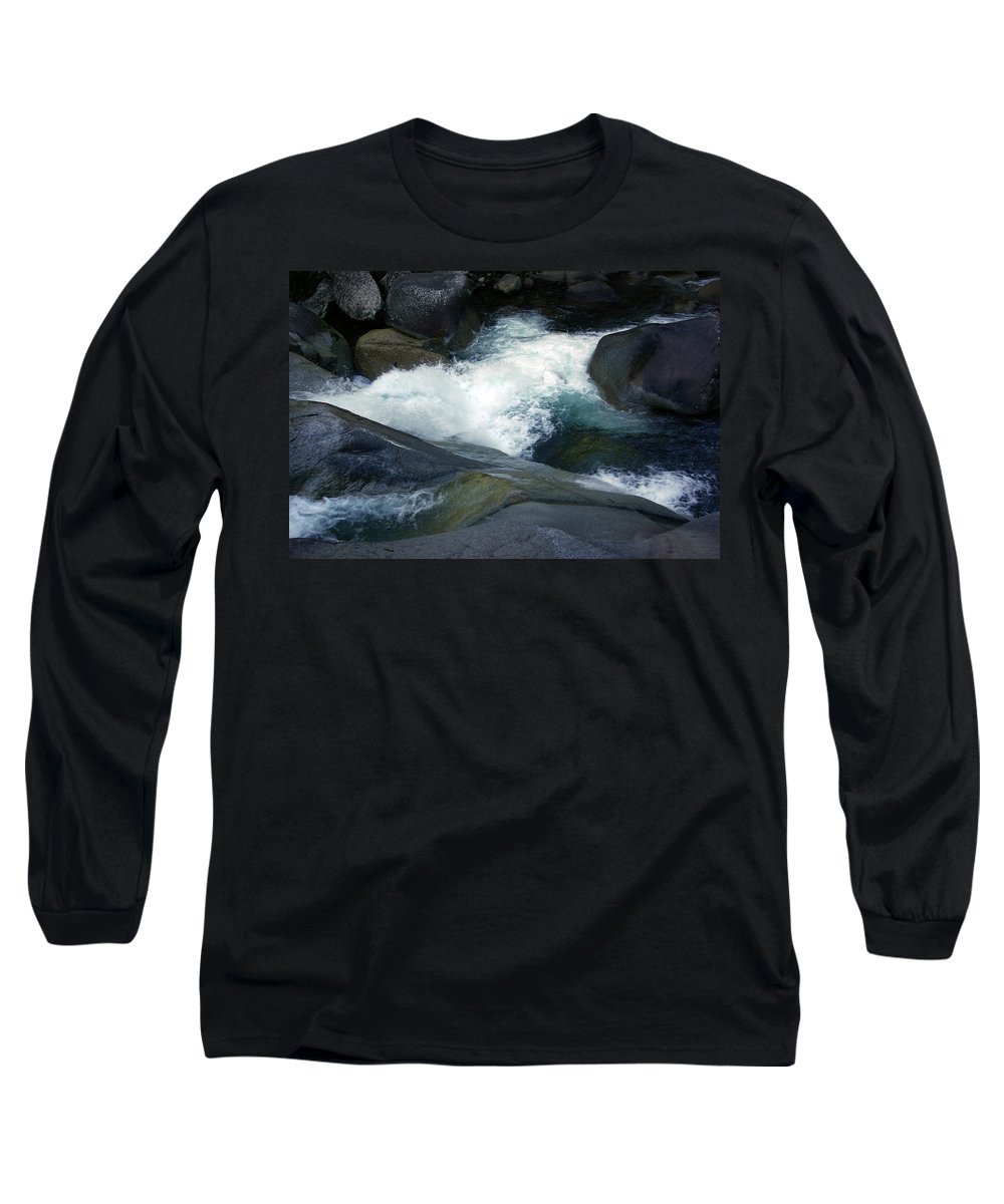 Fineart Long Sleeve T-Shirt featuring the photograph Tropical Flowing Waters Josephine Falls by Kerryn Madsen- Pietsch